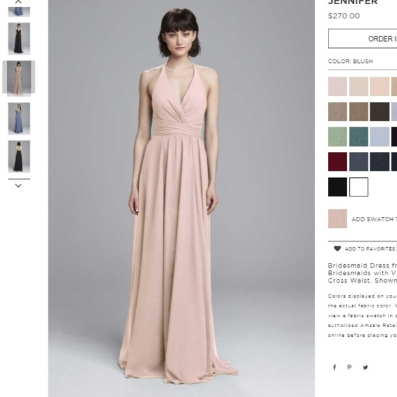 new high quality new lower prices free delivery Amsale blush flat chiffon bridesmaid dress